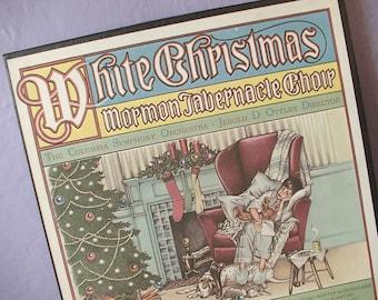 vintage UNIQUE 1970's Christmas lp, White Christmas music album lp, Mormom Tabernacle choir with RECIPES, holiday decor
