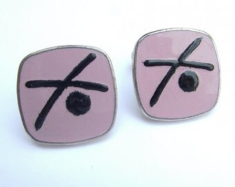 Vintage 1950's pink cuff links, Mad Men, pink and black cuff links, pink wedding gift for groom, antique cuff links