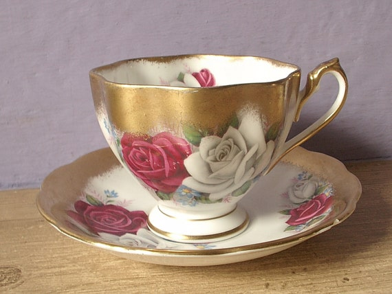 vintage tea cup and saucer set, red white rose gold, Queen Anne English bone china, 1960's