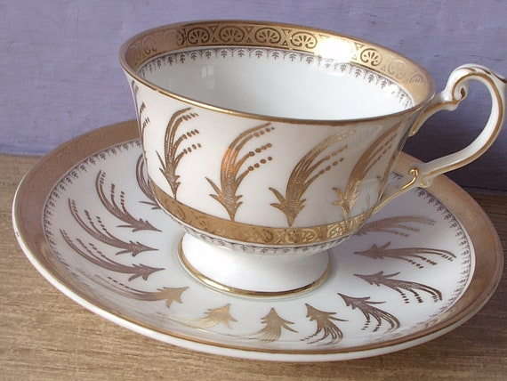 vintage gold tea cup and saucer set, EB Foley English bone china tea set, art deco, gold white cup