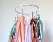 Chandelier of Twirly Tissue Tassels Peach & Mint Mobile