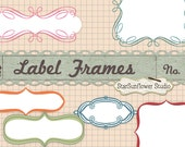 Journal Tags - Doodle Frames Clipart  - Set 15 with Brushes, Custom Shapes & Vectors