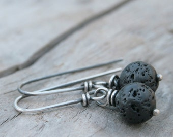Rustic Black Lava Earrings.  Sterling Silver and Lava Earrings.  Goes With Everything.  Winter Jewelry. Lump of Coal.