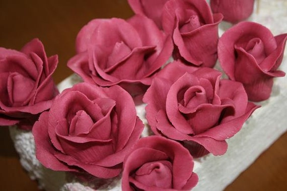 Sugar Rose Cake Design : White gumpaste rose sugar rose for cake by ACakeToRemember ...