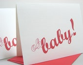 Thank You Note Card Baby Gift Announcement Oh Baby Thanks Birth Red Letter Day