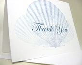 Thank You Card Custom Note Card Blue Teal Scallop Shells Monogram Wedding Thanks