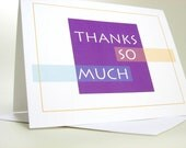 Thank You Note Card Big Bright Bold Purple Casual Thanks Informal Note