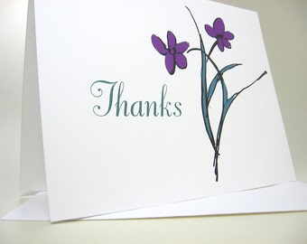 Thank You Custom Note Cards Purple Flowers Summer Wedding Thanks Casual Floral Card