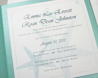 Beach Wedding Invite Pocketfold Custom Teal Blue Starfish Seaside Ocean Aqua Blue-Green Casual Raffia Wrap Square Pocket