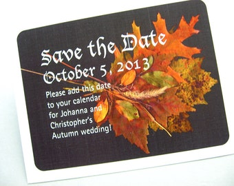 Save the Date Card Fall Wedding Leaves Grasses Rust Gold Orange Black Traditional Elegant Autumn Wedding Classic Photograph