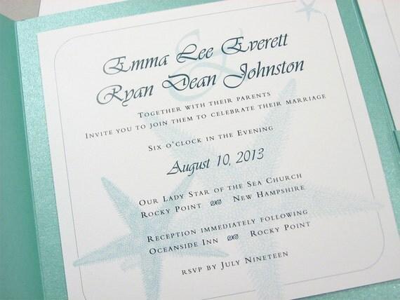 Beach Wedding Invite Pocketfold Custom Teal Blue Starfish