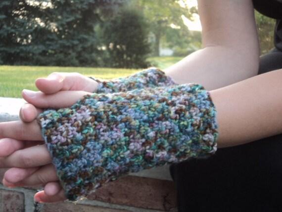 Fingerless Gloves, Hand Painted Alpaca and Wool, Hand Crochet
