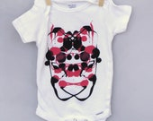 80% off CLEARANCE SALE! Unique Baby Gift Baby Shower - Cool Baby Onesie, Ink Blot Design - Black & Pink non-toxic paint - Size 12 mos cotton