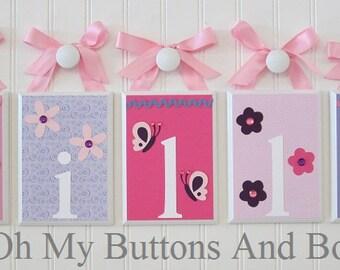 Hanging Name Letters. Nursery Name Blocks . Nursery Name Decor . Baby Name Blocks . Hanging Name Blocks . Flowers Butterflies . Pink Purple