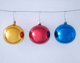 Orignial Box of 3 Large Vintage Christmas Glass Ornaments in Yellow, Red and Blue