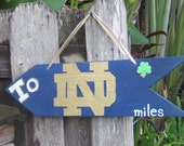To NOTRE DAME - Fightin' Irish Directional Arrow Sign with Your Mileage to The Fightin' IRISH Campus