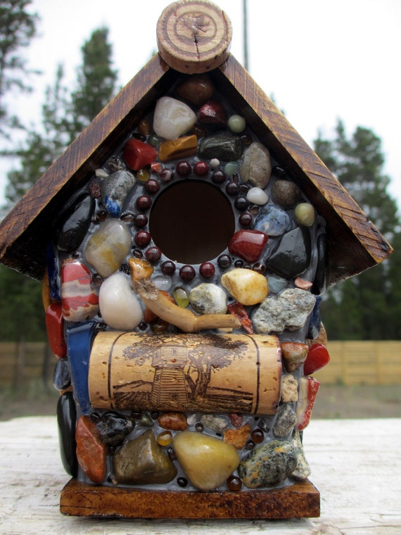 Cork Birdhouse with Light House and Ocean Agates-Eco Friendly