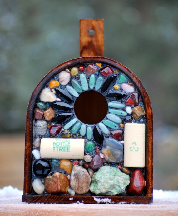 Recycled Wine Cork And Stone Birdhouse Functional Garden Art