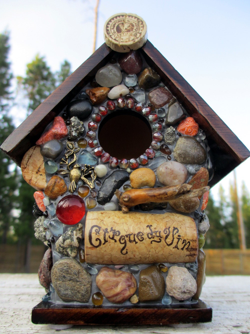 Whimsical Birdhouse Mosaic Garden Stone And Wine Cork