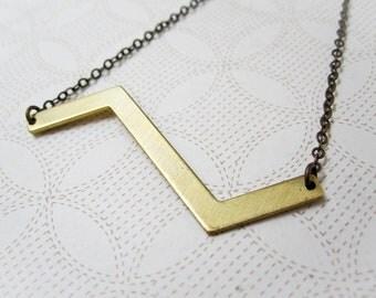 Chevron Necklace - Geometric Jewelry - Zigzag - Chevron Jewelry - Geometric - Modern Brass Jewelry - Edgy Jewelry