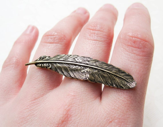 Feather Ring - Boho Chic - Feather Jewelry - Statement Ring - Nature Inspired Jewelry - Feather - Statement Jewelry