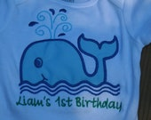 Birthday Shirt, embroidered whale for boys.  Under the sea first birthday