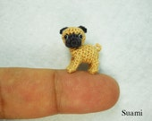 Fawn Pug Dog - Teeny Tiny Crochet Miniature Pet - Made To Order