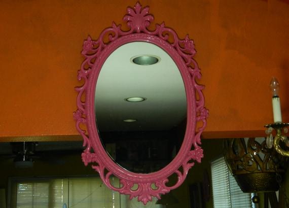 Vintage Pink Oval Syroco Ornate Framed Mirror