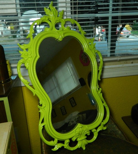Vintage Lime Green Ornate Dart Wall Mirror