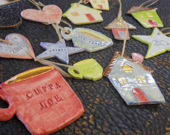 CUSTOM ornaments, set of 6 ceramic - never too early to plan ahead