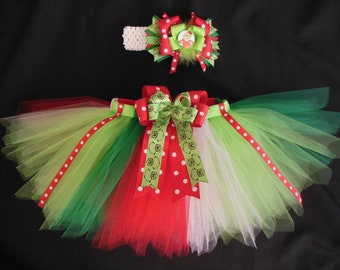 The Grinch inspired tutu set, custom made in your choice of size Newborn-4t