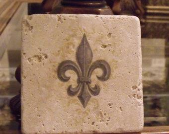Fleur De Lis Decor - Fleur de lis Coasters - Party Coasters - Tumbled Marble Coaster - New Orlean's Saints Decor -  Stone Coaster Set