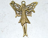 Fairy Charm, 2 inch Large Antiqued Brass Pendant Drop with Magic Wand and Wings 50mm