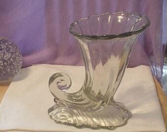 Vintage Warwick Heisey Horn of Plenty  or Cornucopia Vase, Victorian, Renaissance, Bohemian, Shabby Chic, Antique, Unique, Romantic, Retro