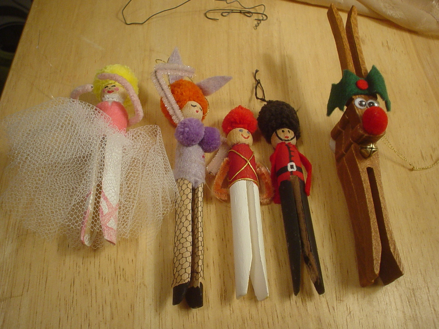 5 Wooden Clothespin Ornaments Ballerina Dancer Toy Soldier