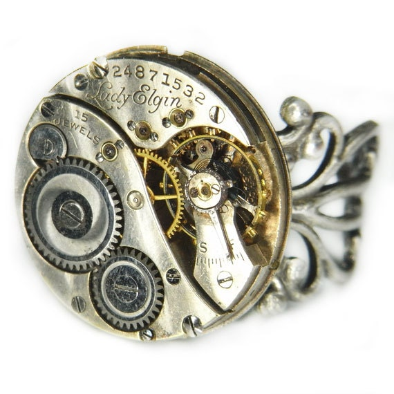 Women's STEAMPUNK Ring Jewelry - Watch Movement TORCH SOLDERED - Vintage 1922 Elgin Circular w/ Floral Silver Band - Pin Striped