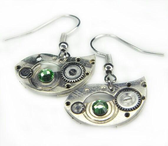 "STEAMPUNK Earrings - Watch Movements - Vintage Barrel Bridge ""BIRD"" Shape and Peridot Swarovski Crystals - Charming Pair"