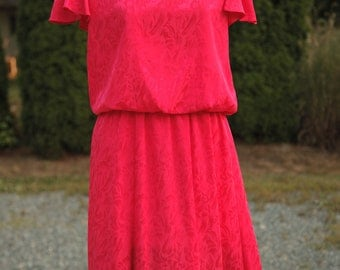Awesome Vintage 1980's Hot Pink Dress with Hot Pink Shimmery Design