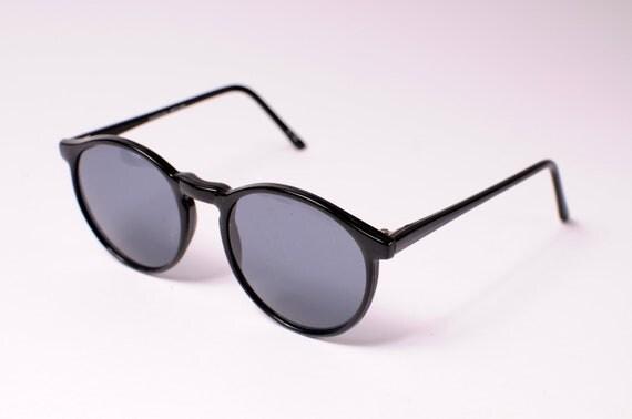 1980s Vintage Black Round Sunglasses (Andy)