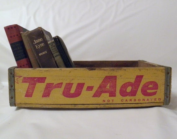 Vintage Tru Ade Soda Crate, Wooden Crate, Yellow and Red Vintage Crate
