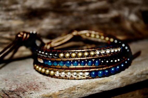 Leather 3 wrap Copper, Czech Blue and Silver Bead Wrap Bracelet
