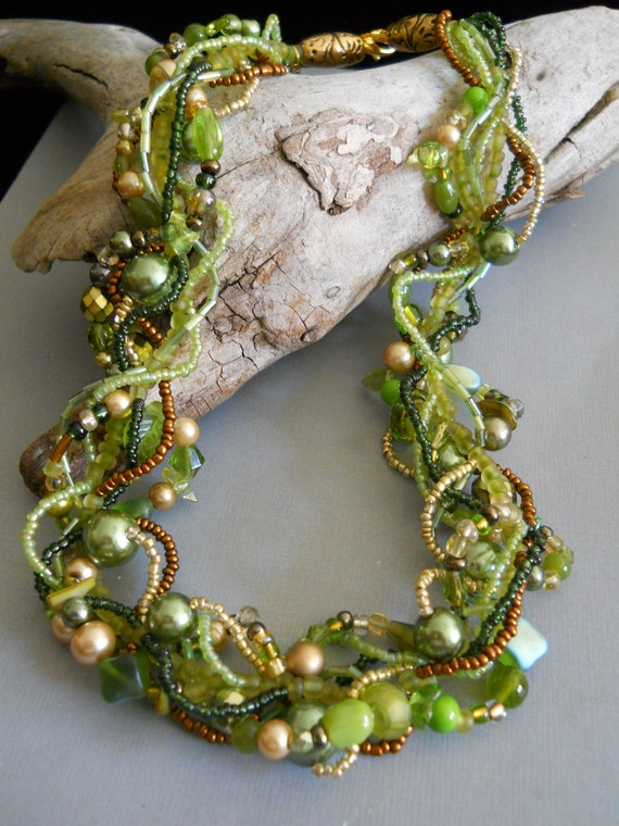 Green multi strand necklace, statement, woven, twisted, freeform, bridesmaid: Forest Sunlight