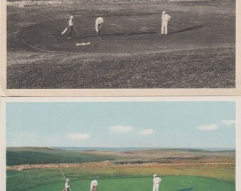 Matched set of two,  1 B&W/1 Color, Same scene, On the Golf Links, Nantucket post cards. Gardiner.