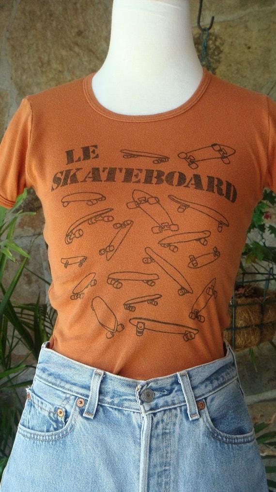 FRENCH SKATEBOARD TEE rare vintage 1970s tshirt xs