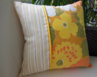 Sunny Yellow Pillow - Vintage Fabric Pillow - Decorative Accent Throw Pillow - 15 x 15 inch Reversible - Sunny Delight Design Pillow