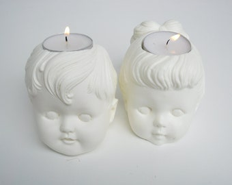 Vintage Boy and Girl Doll Pair of Tea Light Candle Holders 20% discount at checkout - see shop banner