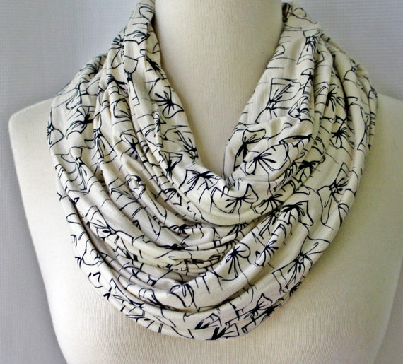 SALE - Infinity Scarf Illustrated Bows Jersey - Wide