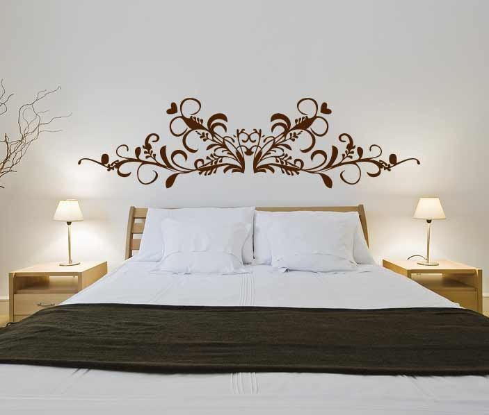 Baroque headboard 3 wall sticker bedroom decal by for Mural headboard