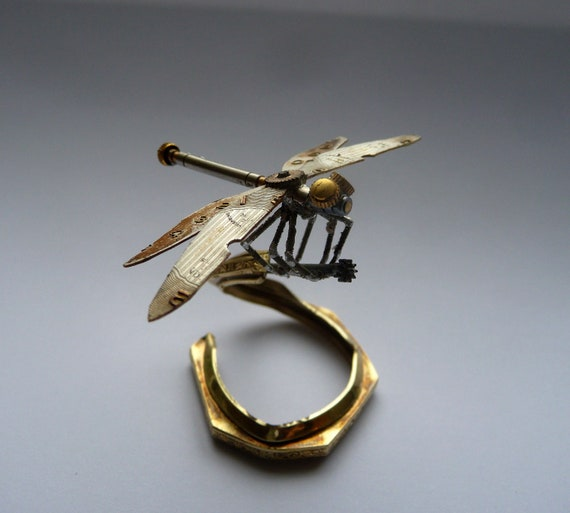 RESERVED Mechanical Dragonfly Sculpture Recycled Watch Parts Clockwork Dragon Fly Figurine Watch Stems and Faces Insect A Mechanical Mind