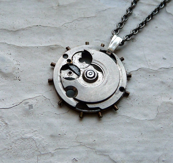 "Clockwork Necklace ""Satellite"" Sputnik Inspired Art Recycled Mechanical Watch Sculpture Steampunk Sculpture Necklace AMECHANICALMIND"